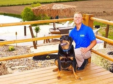 President and Founder Dave Hydock with official Deck Rescue Happiness Coordinator, Cody