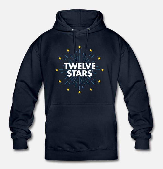 EURO RETRO STARS HOODIE NAVY