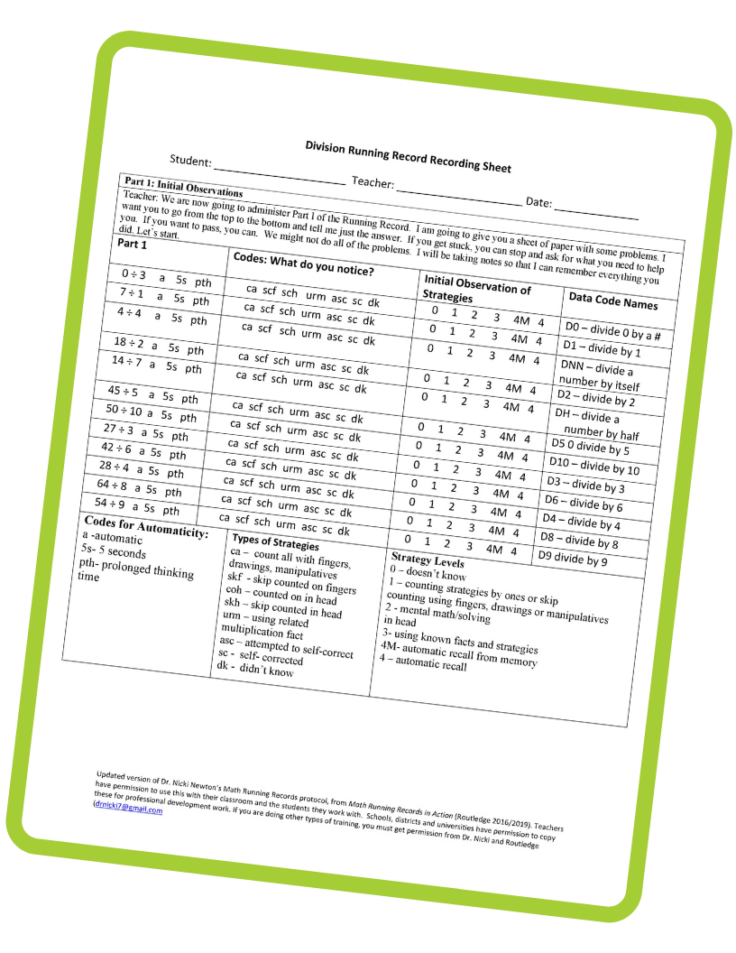 Math Running Records Division Template