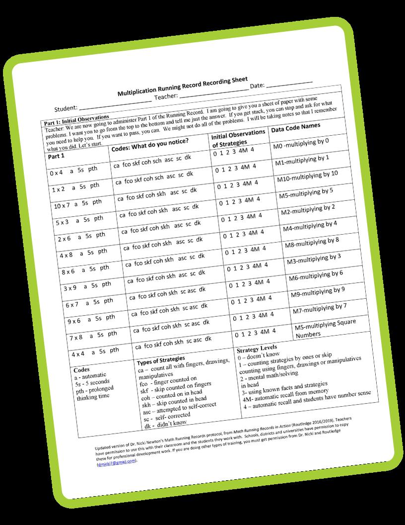 Math Running Records Multiplication Template