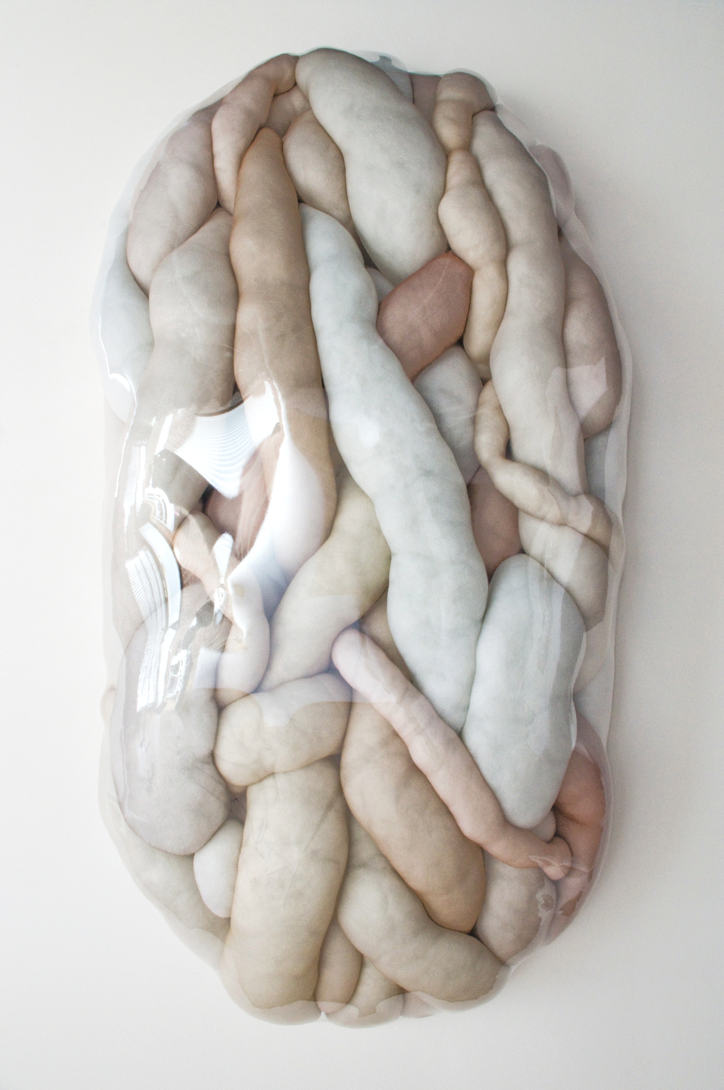 "In the Flesh - 2019, synthetics and vinyl.48""x24""x10""Interior space and accessibility, In the Flesh and Abominable Cavity (below) are sister sculptures that grant the viewer access to an intimate environment. Soft Tissue celebrates the growth and healing capacity of our interior self, physical and psychological. Abominable Cavity provides exposure to the fears and anxieties steeped in discovering what lies beneath."