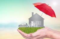 house/car in hand with umbrella