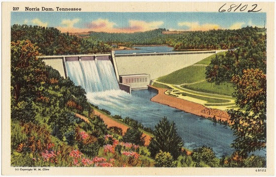 """Norris Dam, Tennessee,"" Boston Public Library, The Tichnor Brothers Collection, Series Tennessee Postcards, ca. 1930-1045"