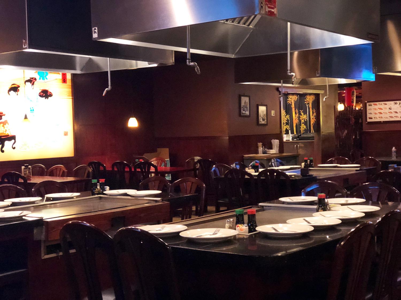 Teppanyaki grills and dining area | Osaka Houma