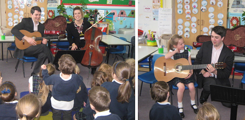 """Wednesday, 20 March 2019: Duo Antipodes Music Workshop at Grayswood Primary School - The children of Grayswood Primary School had a surprise treat on Wednesday 20th March when they attended a concert in school given by the Duo Antipodes. This Duo comprises Manus Noble playing Guitar and Jehanne Bastoni on Cello. They took the children on a journey around the world with music from Italy by Luigi Boccherini, Andaluza by Enrique Granados from Spain, a fairy tale tune from Japan and a beautiful Irish piece called Starry Night. Manus also played an African piece called Benga Beat by Gary Ryan, which included a great deal of rhythmic tapping on wood. The children listened attentively, some of them keeping time with hands, feet and heads! Manus introduced each piece and explained the workings of the guitar and cello, and when asked """"Who would like to learn to play the guitar?"""" most of the hands went up!Manus and Jehanne then went into Year 2 for a workshop where they explained in more detail how the Guitar and Cello are constructed and several of the children were allowed to """"have a go"""" on the Guitar.The Duo went on in the afternoon to give a concert for the elderly at St Christopher's Church."""