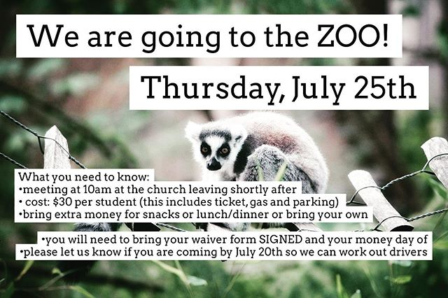 MAJOR HEADS UP!!!!!! Hey guys! We're going to the Zoo!!! YAYYY!!! Please let us know if you are coming! We need to know numbers so we can arrange transportation!
