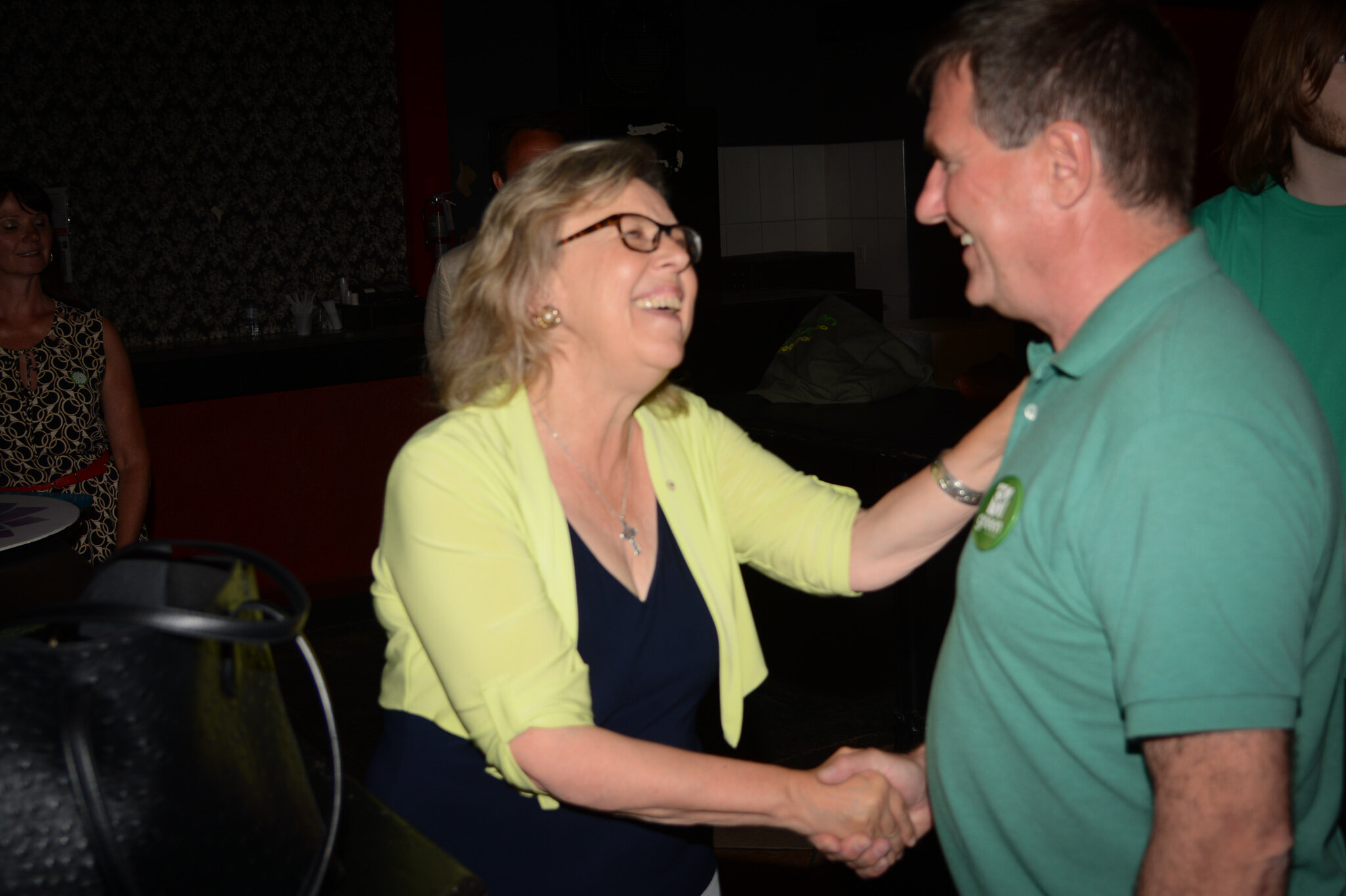 Elizabeth May and Dufferin-Caledon candidate Stefan Wiesen sharing a moment on the campaign trail.