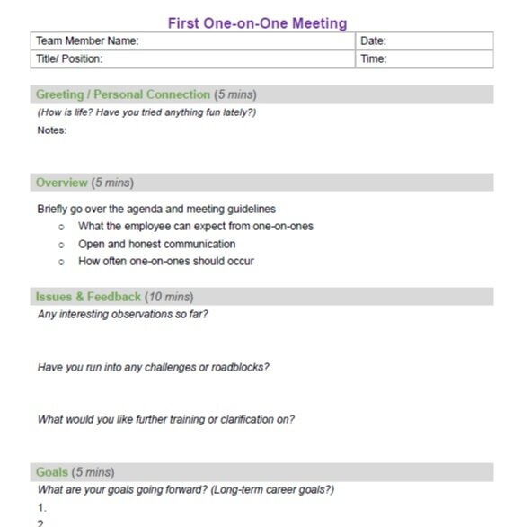 Free Agenda Template For A First Time One On One Meeting Viamaven The 1 Performance Review Generator