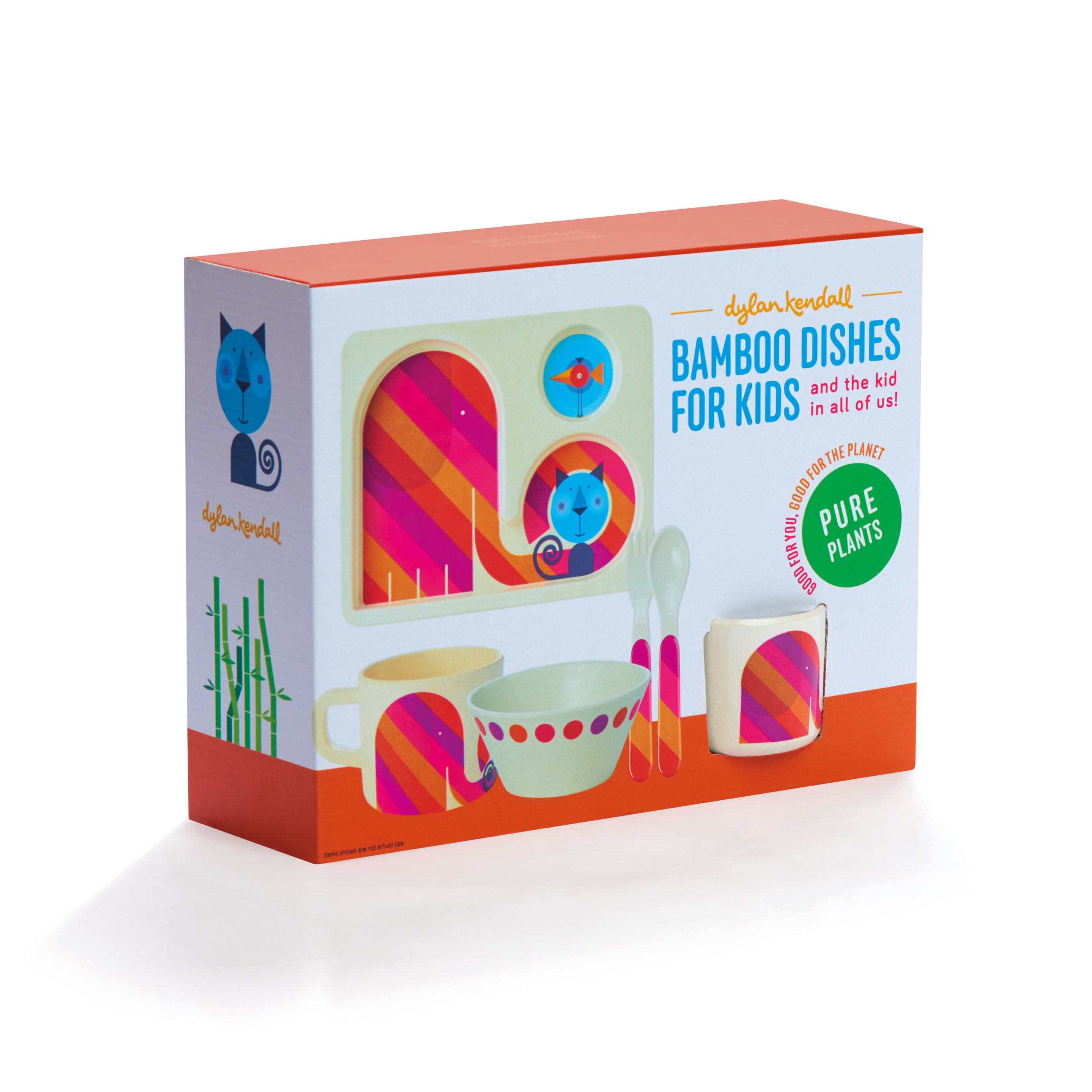 Dylan Kendall - Bamboo Toddler - Elephant & Cat - Gift box - Toddler tray, bowl, cup, fork and spoon - front-RETM2.jpg