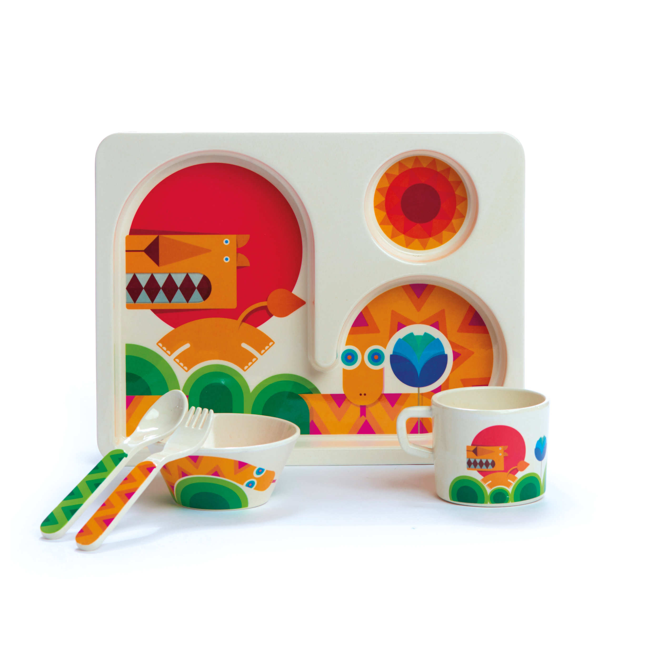 Dylan Kendall - Bamboo Toddler - Lion & Snake - Set - Toddler tray, bowl, cup, fork and spoon - view 1-RETM2.jpg