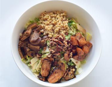 Farmhouse Pearl Couscous - Grilled apple sage sausage, dijon couscous, charred brussels sprouts, maple glazed butternut squash, mixed greens, roasted shallot vinaigrette (Contains nuts)