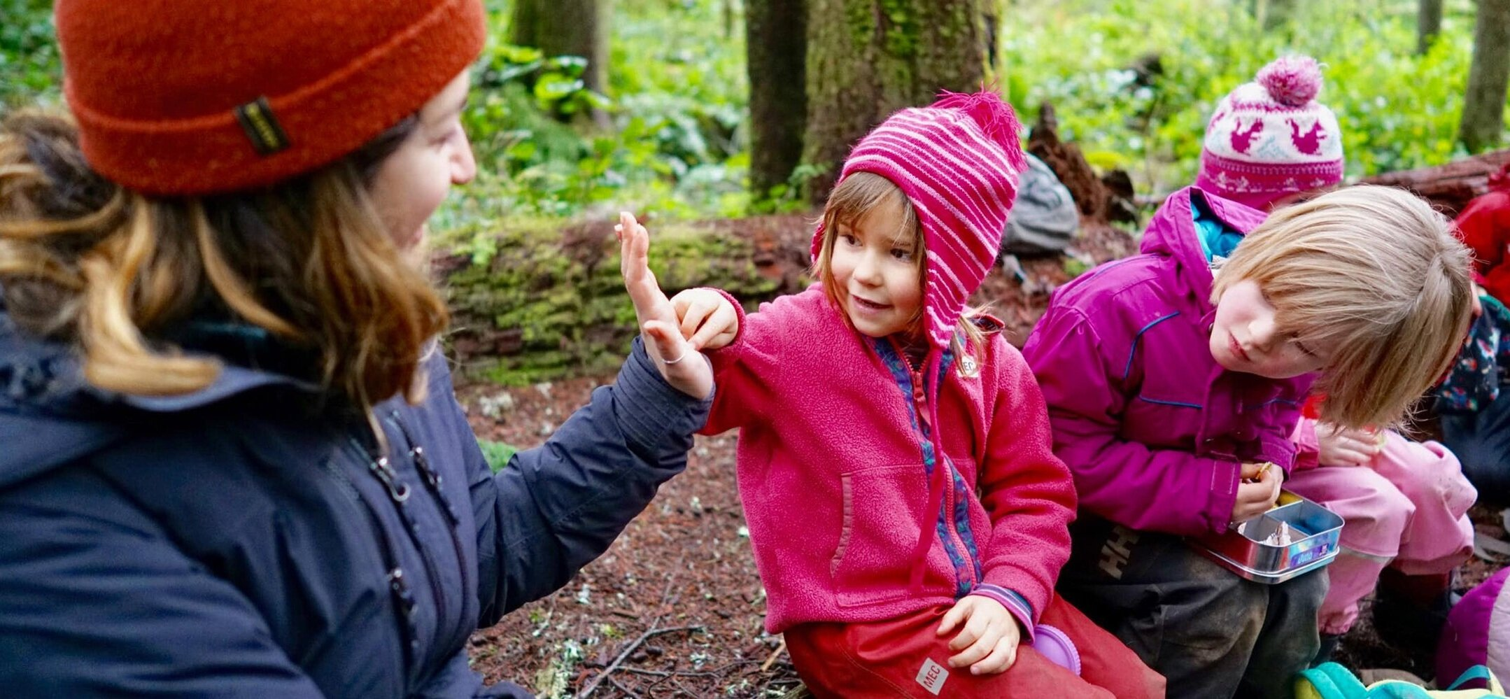 On location shooting a video with Cumberland Forest School, in Cumberland BC.