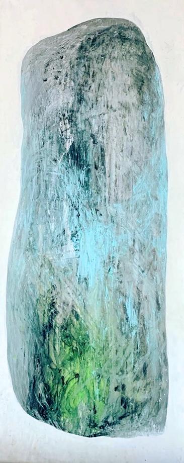 Monoliitti, 2019, öljy, akryyli kankaalle, 3,5 x 1,20 m