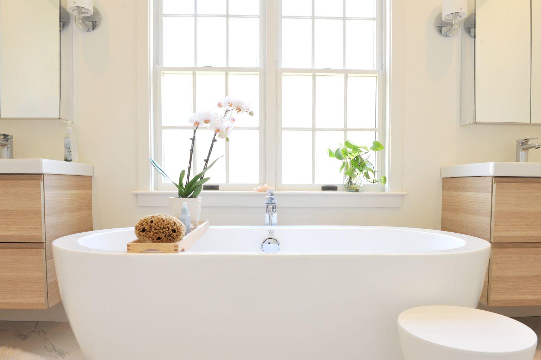 Luxury tub in bathroom remodel