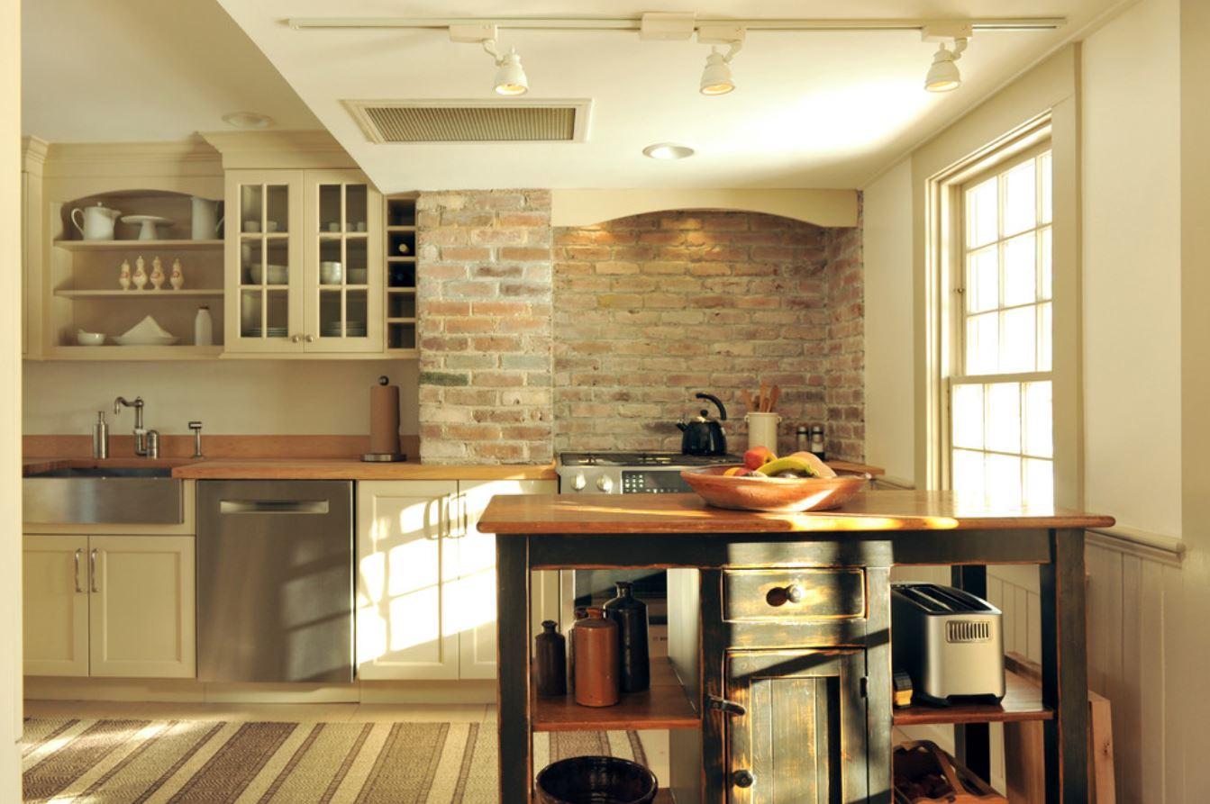 kitchen renovation with brick backsplash