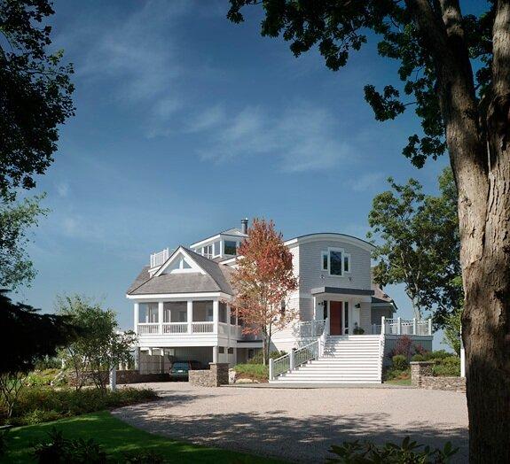 Entryway of custom coastal home renovation