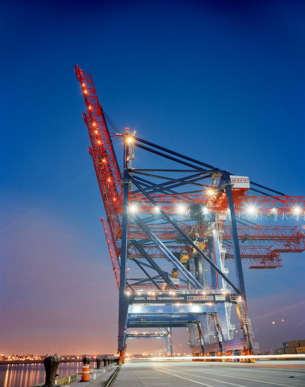 Post-Panamax Cranes, Dusk, NYC