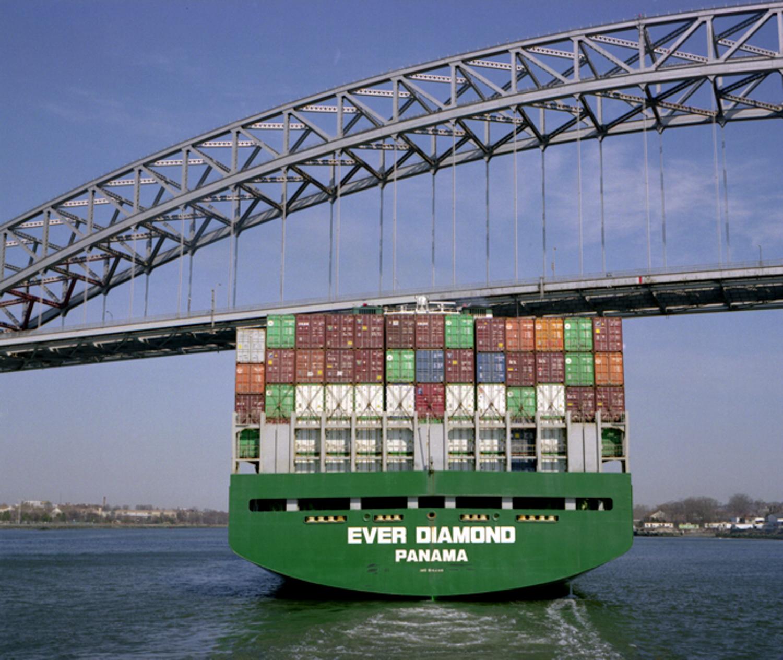 Ship passing under Bayonne Bridge