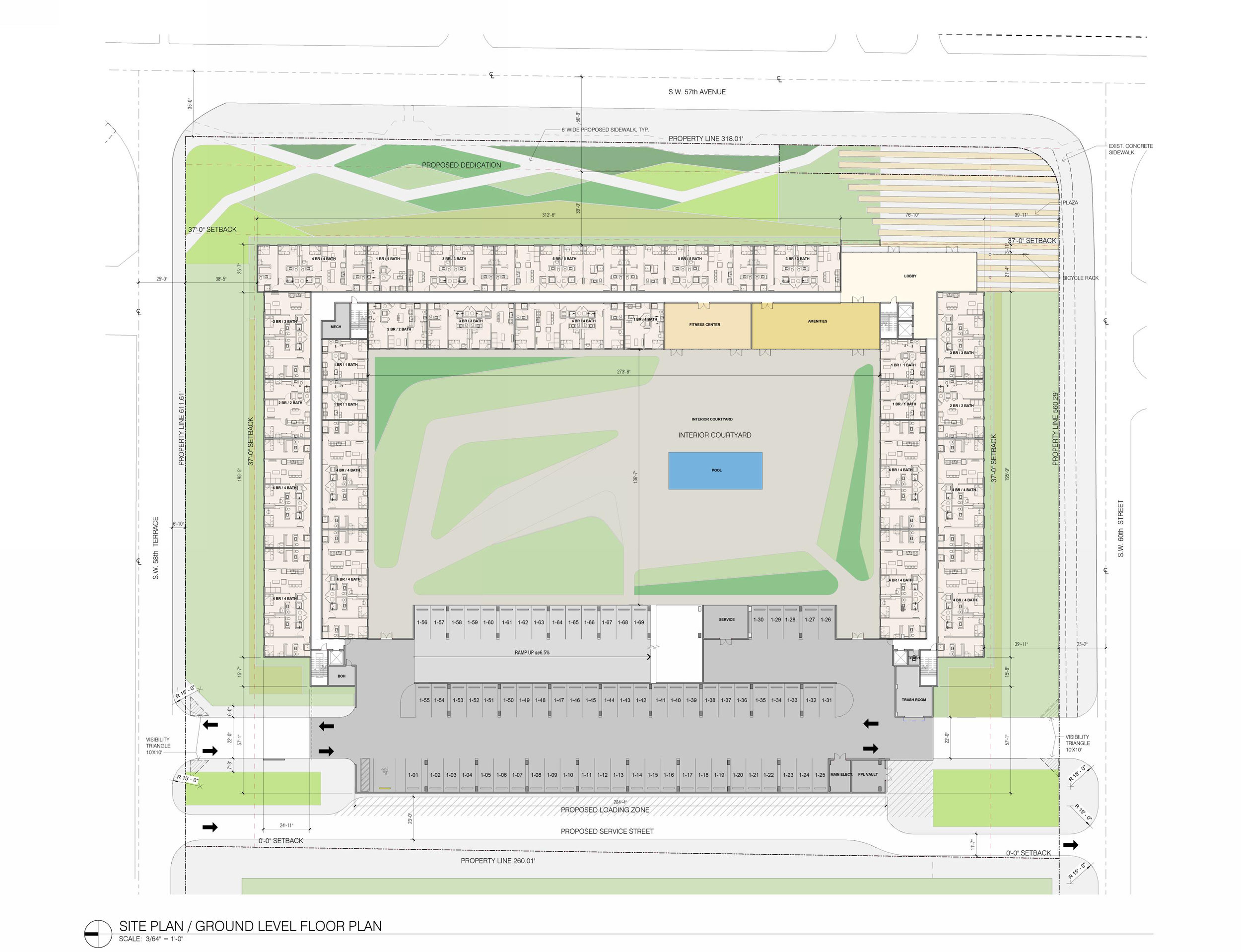 Site Plan - The original plan complies with county zoning code on lot coverage, open space, unit count, height, setbacks, and FAR. Setbacks along the street per zoning code create greenways for the neighborhood. A single internal courtyard is utilized for outdoor amenities. The parking garage is accessed off of 58th and 60th