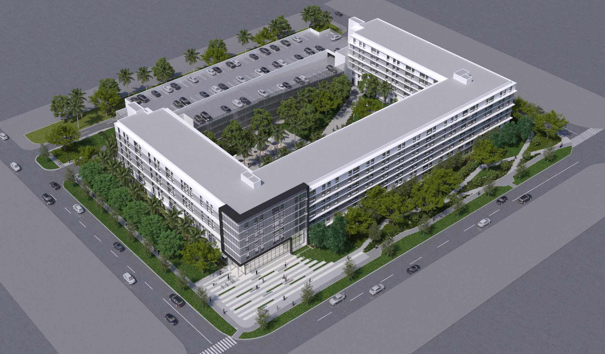 Aerial Rendering - Pedestrian greenways are populated with an extensive tree canopy to create shade for the building and passersby.