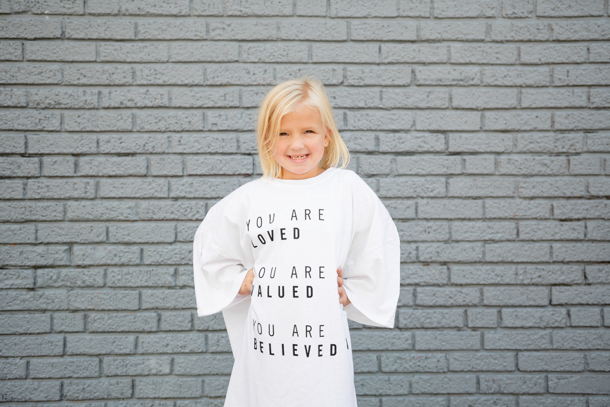 """""""Loved, valued, believed in"""" T-shirt."""