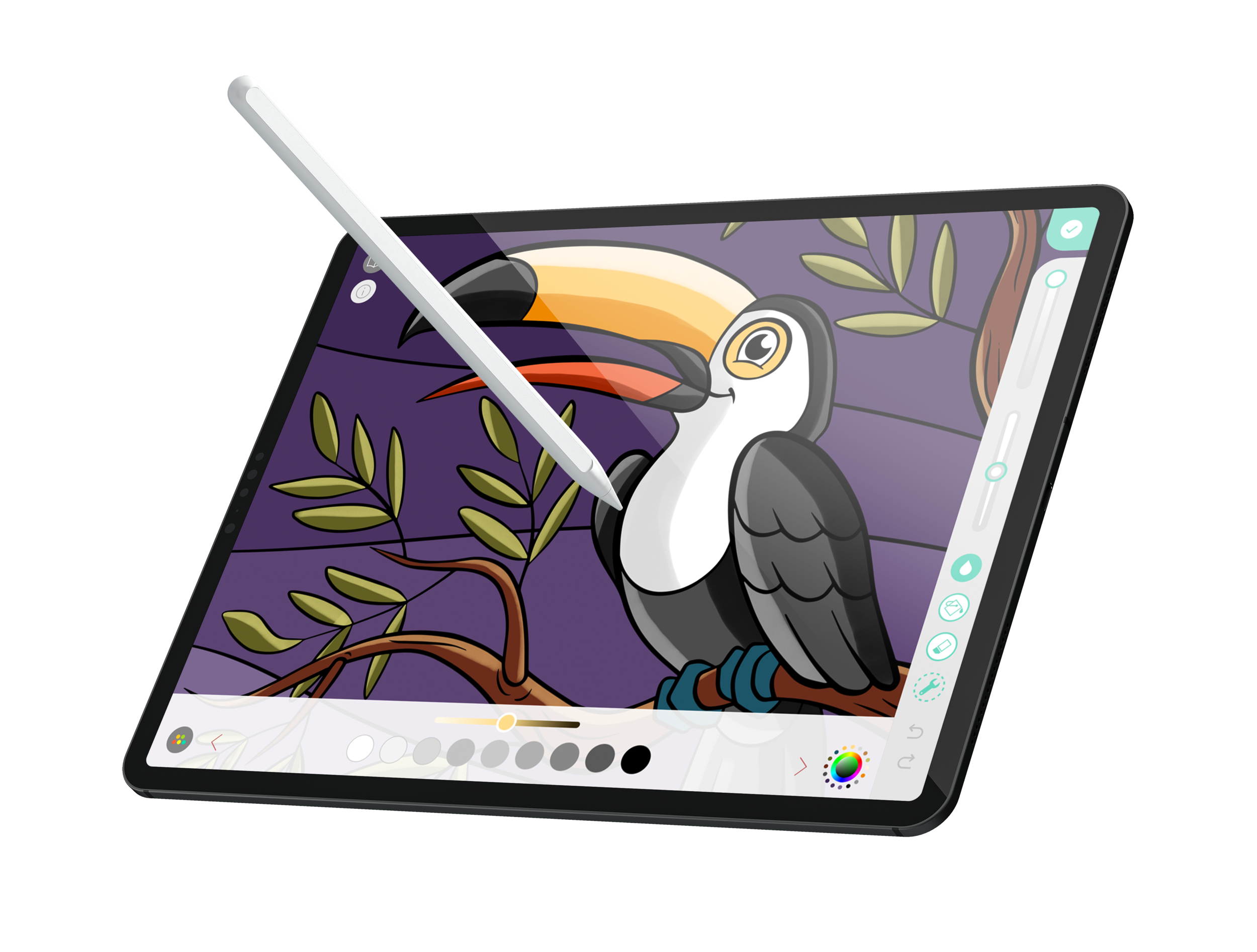 Apple Pencil Support - • Use an Apple Pencil, or virtually any other stylus.• An immersive and realistic coloring experience.• Easy pressure, direction, and stroke adjustments.• Leave that box of pencils and erasers in the closet!