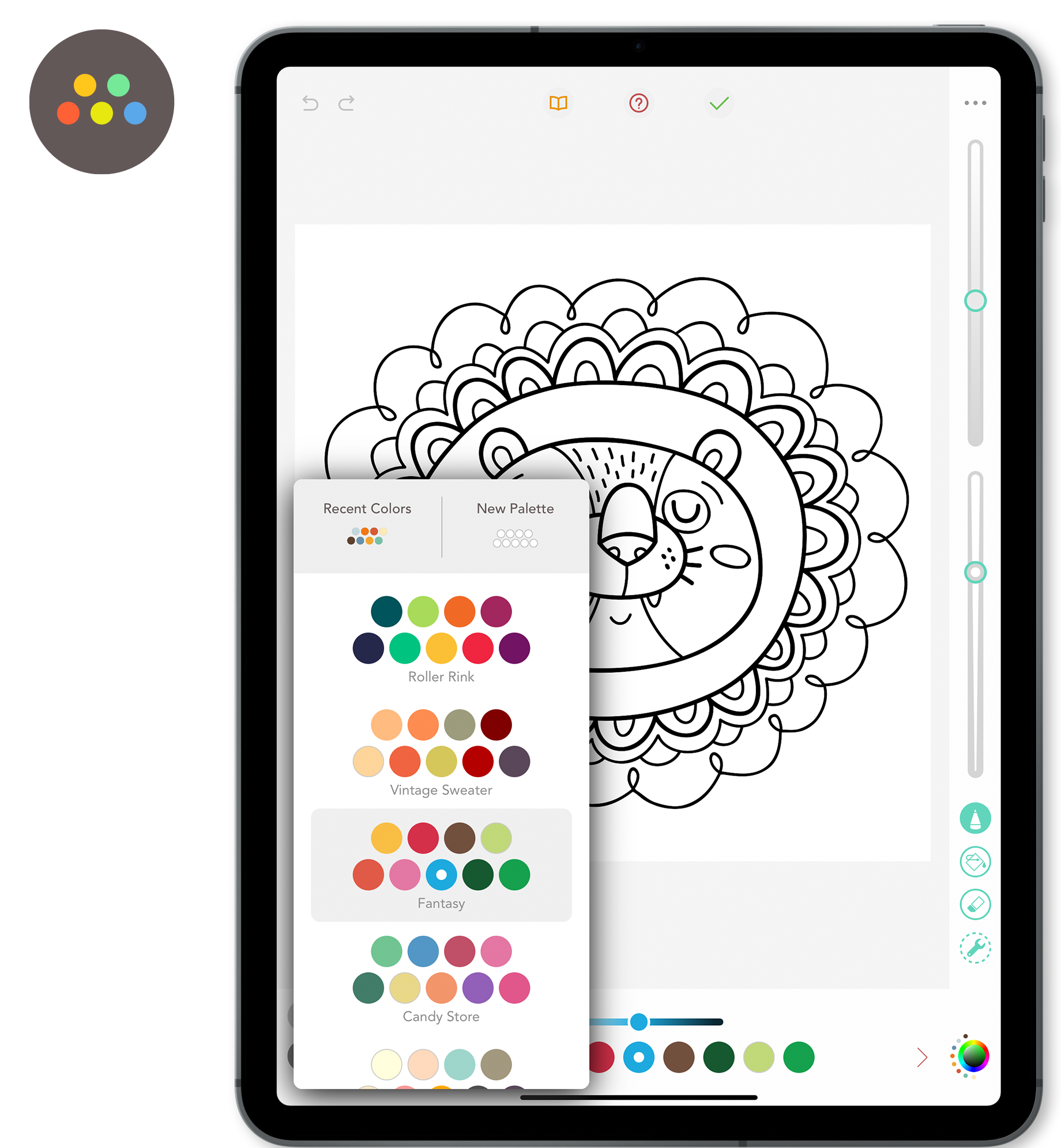 Color Palette Menu - The color palette menu is where you find the colors to help bring your chosen design to life.Don't remember which color you used previously? Look in Recent Colors or use the Sample tool by selecting the color in your design you want to use again.