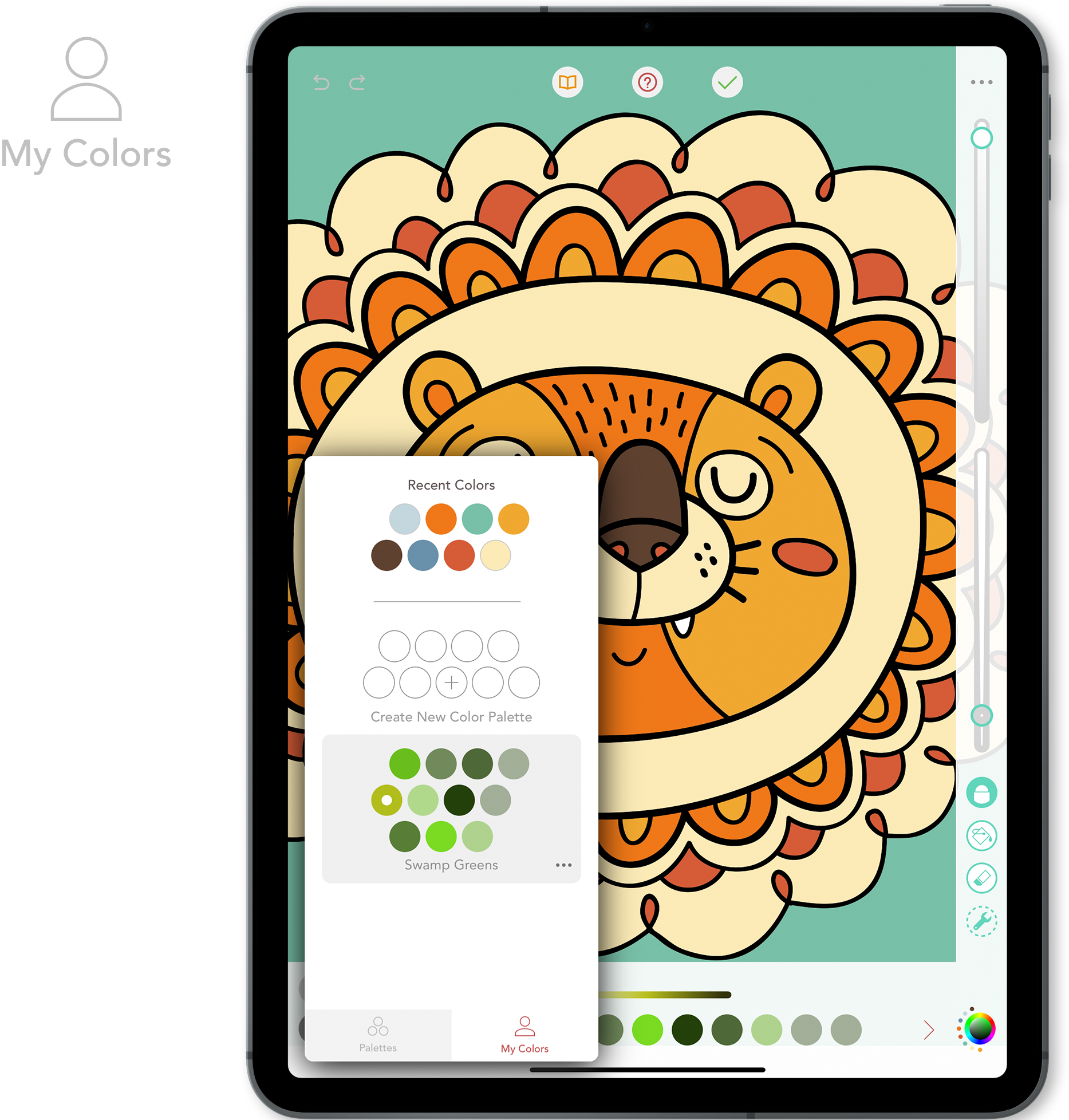 My Colors - When you have created your first color palette, the My Colors tab will appear in the Color Palette menu. Here you will find the custom palettes you have created.From this panel you can create a new palette and Delete, Copy, or Edit an existing palette.