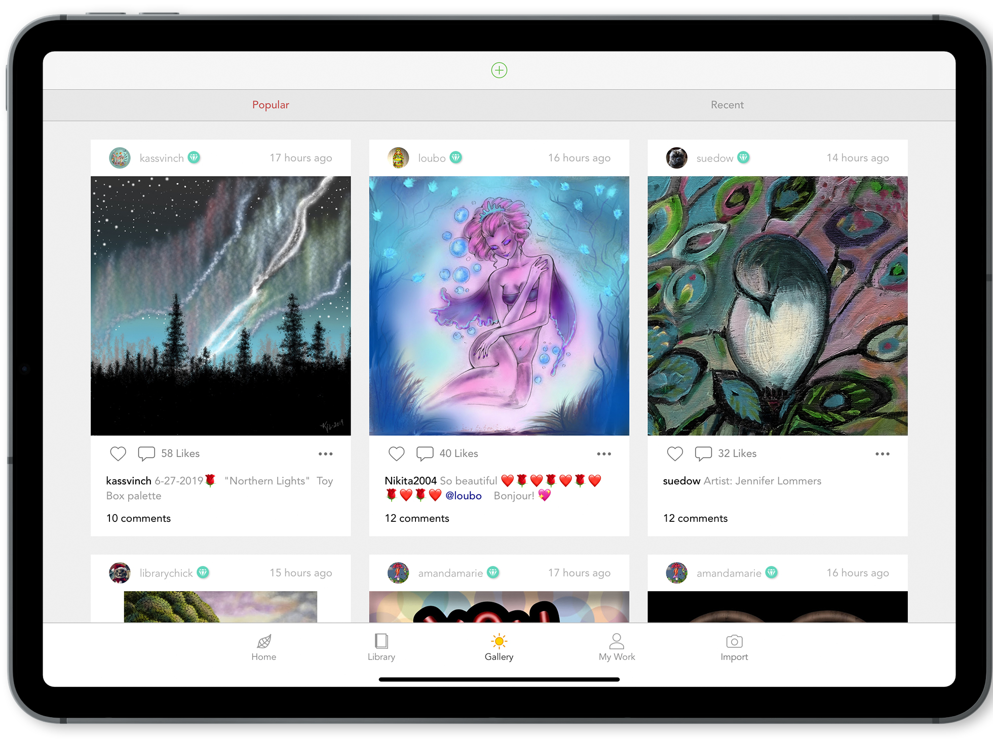 Gallery View - Once you have created your account will be taken to the Popular page of the Gallery. Here you will see the posts from other fellow colorsits that are highly regarded with-in the community.You can also access the Recents and the Following tabs from this screen.