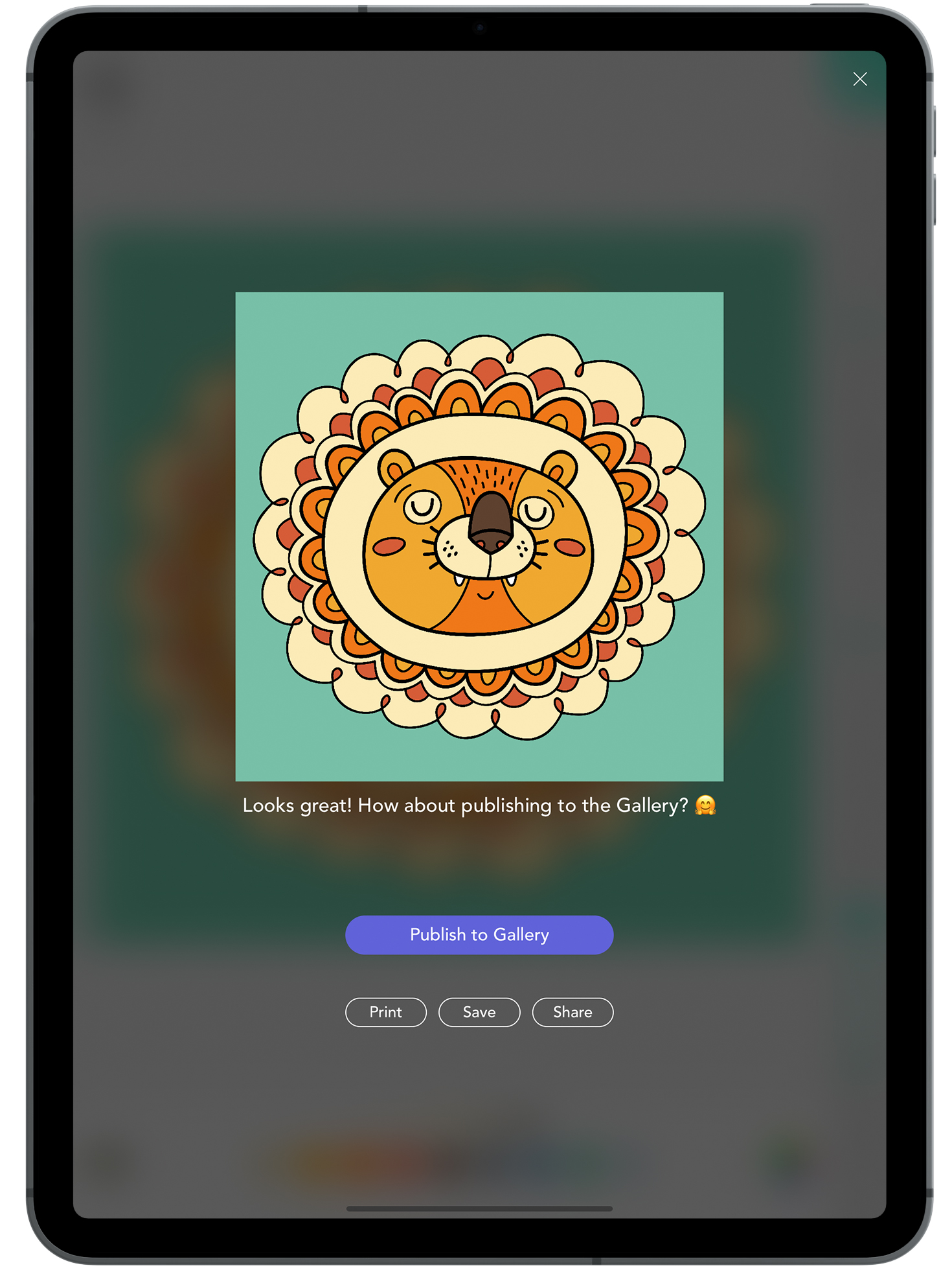 From The Coloring Screen - When you have finished coloring an image you can post it directly from the Coloring Screen, by tapping on the check mark at the top of the screen.