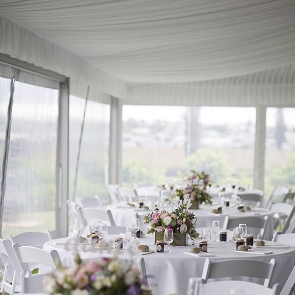 Marquee Range - Our marquees range from 6m to 57.5m. There are no internal poles or guy ropes so you can use all of the space inside and there's no tripping hazard for your guests.