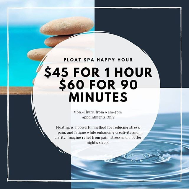 Come join us for a float happy hour! #elevatemindbodypeace #elevatefloatspa #float #floatspa #unmistakablylawrence #lfk #explorelawrence