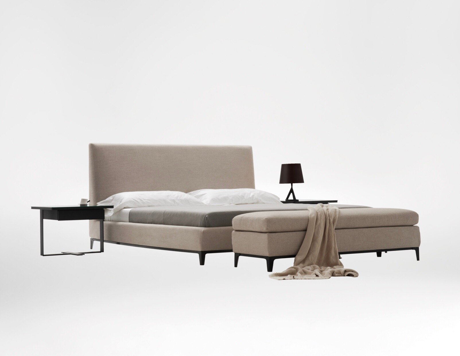 Crescent bed - Formal yet supremely comfortable, the Crescent bed is designed in impeccable taste.