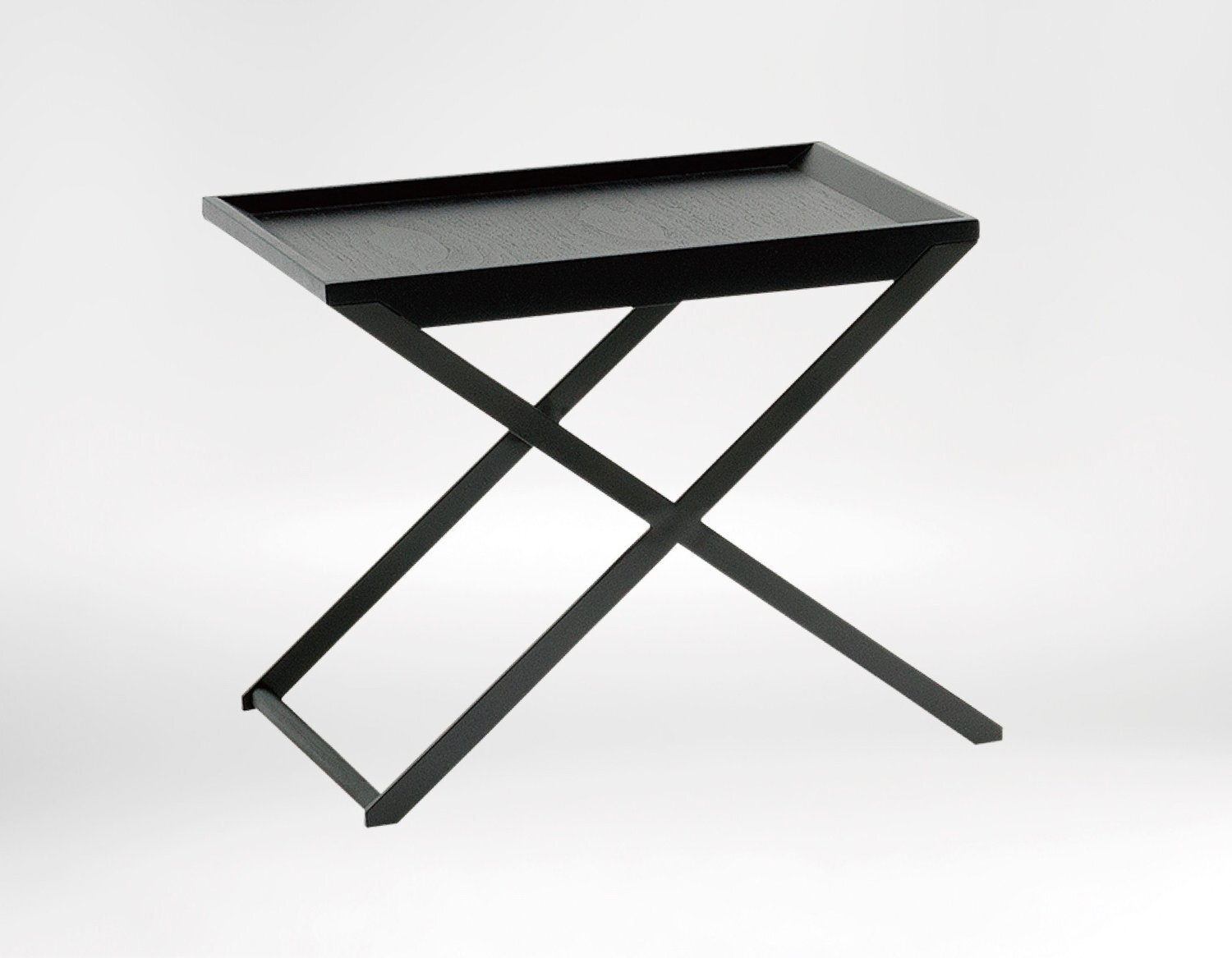 Enzo coffee table - Clean contemporary feel with its black steel legs and solid Walnut top.