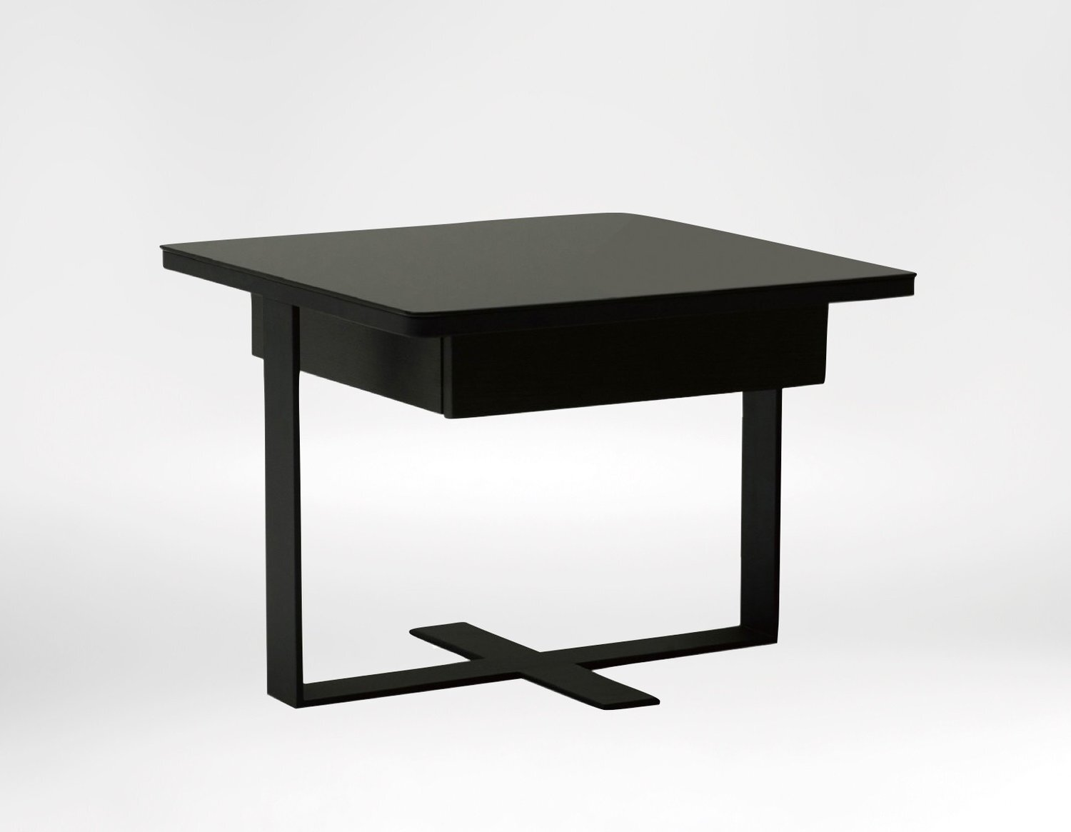 Mod Side Table - Featuring a unique platform and frame with a square black glass top.