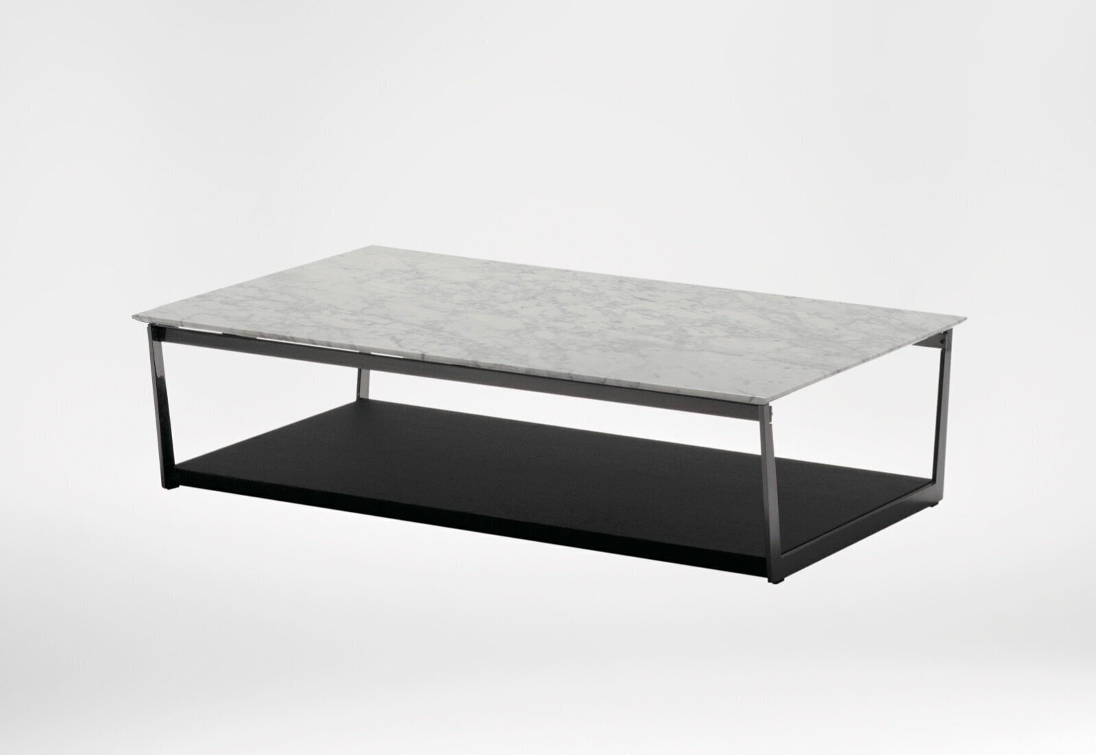 Element coffee table - The finest Carrera marble with the cool modernity of metallic black steel to create a unique piece that is timeless in its clean simplicity.