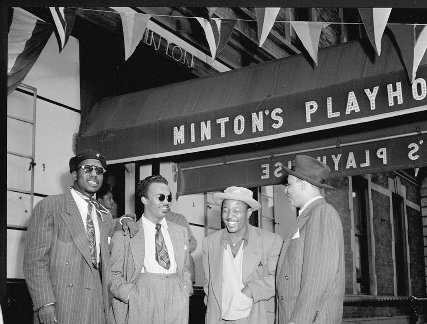 Pictured (left to right): Thelonious Monk, Howard McGhee, Roy Eldridge, and Teddy Hill at the door of Minton's Playhouse in 1947 (Photo by William P. Gottlieb).