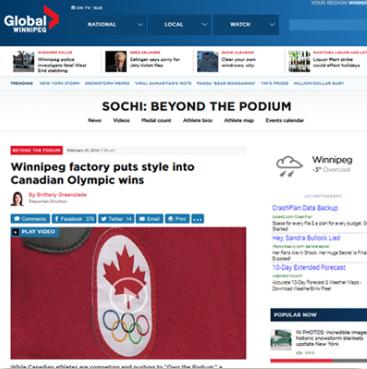 Winnipeg factory puts style into Canadian Olympics –    Feb 2014