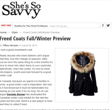 She's So Savvy – Freed Coats Fall/Winter Preview    - Aug 2015