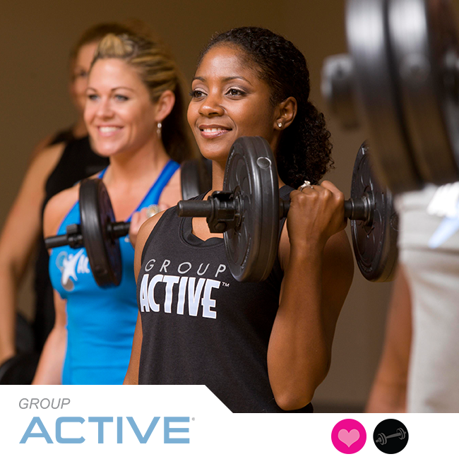Group Active® gives you all the fitness training you need – cardio, strength, balance, and flexibility – in just one hour. Get stronger, fitter, and healthier with inspiring music, adjustable dumbbells, weight plates, body weight, and simple athletic movements. ACTIVATE YOUR LIFE!