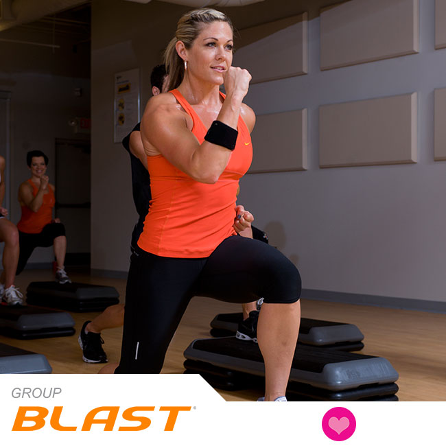 Group Blast® is 60 minutes of cardio training that uses The STEP® in highly effective, athletic ways. It will get your heart pounding and sweat pouring as you improve your fitness, agility, coordination, and strength with exciting music and group energy. HAVE A BLAST!