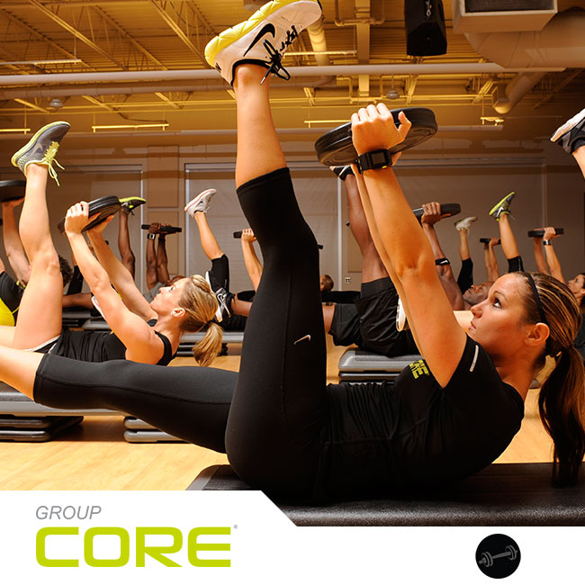 Group Core® trains you like an athlete in 30 action-packed minutes. A strong core, from your shoulders to your hips, will improve your athletic performance, help prevent back pain, and give you ripped abs! Expert coaching and motivating music will guide you through functional and integrated exercises using your body weight, weight plates, a towel, and a platform – all to challenge you like never before. HARD CORE!