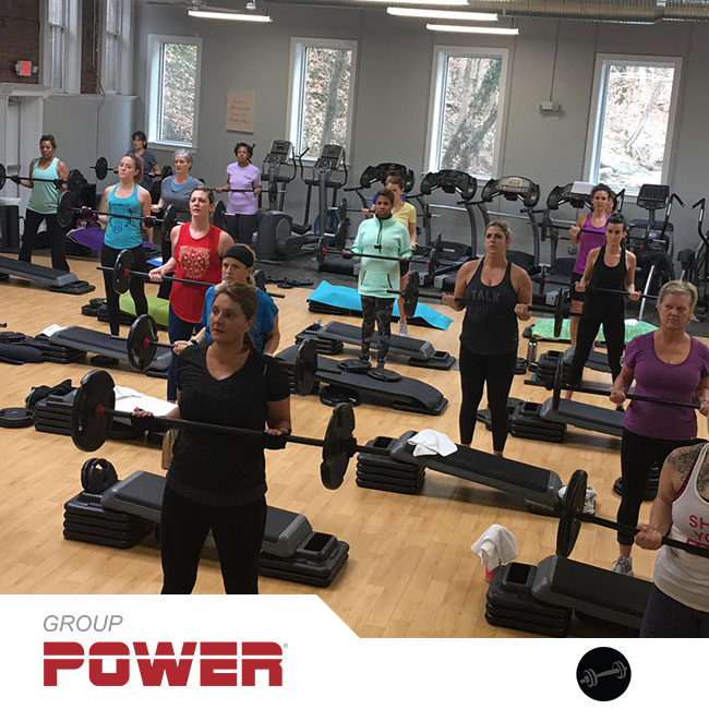 Group Power® will blast all your muscles with a high-rep weight training workout. Using an adjustable barbell, weight plates, and body weight, Group Power combines squats, lunges, presses, and curls with functional integrated exercises. Dynamic music and a motivating group atmosphere will get your heart rate up, make you sweat, and push you to a personal best! POWER UP!