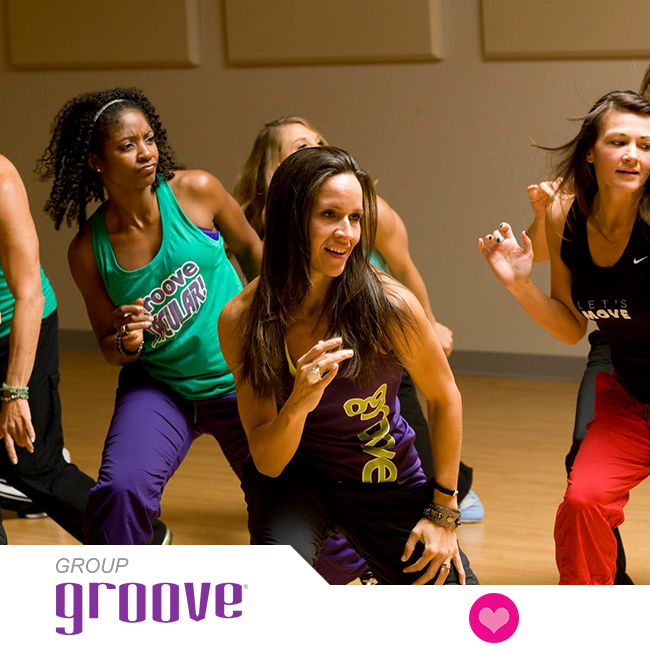 Group Groove® will make you sweat with a smile during this energizing hour of dance fitness. It's a sizzling cardio experience that is a fusion of club, urban, and Latin dance styles set to the hottest current hits and the best dance songs ever produced! IF YOU CAN MOVE, YOU CAN GROOVE!