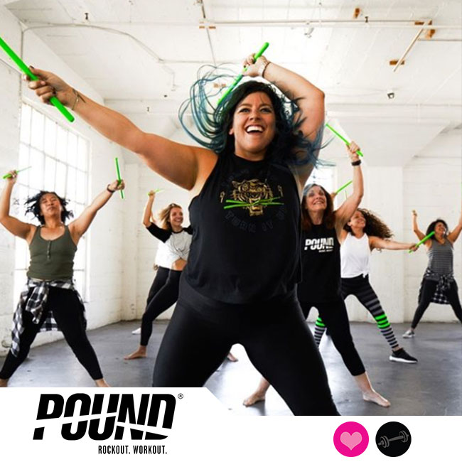 POUND® is the world's first cardio jam session inspired by the energizing & sweat-dripping fun of playing the drums. Using Ripstix®, lightly weighted drumsticks engineered specifically for exercising, POUND® transforms drumming into an incredibly effective way of working out. Instead of listening to music, you become the music in this exhilarating full-body workout that combines cardio, conditioning, and strength training with yoga and Pilates-inspired movements. Designed for all fitness levels, POUND® provides the perfect atmosphere for letting loose, getting energized, and rockin' out! The workout is easily modifiable with an alternative vibe and welcoming philosophy that appeals to men and women of all ages and abilities.