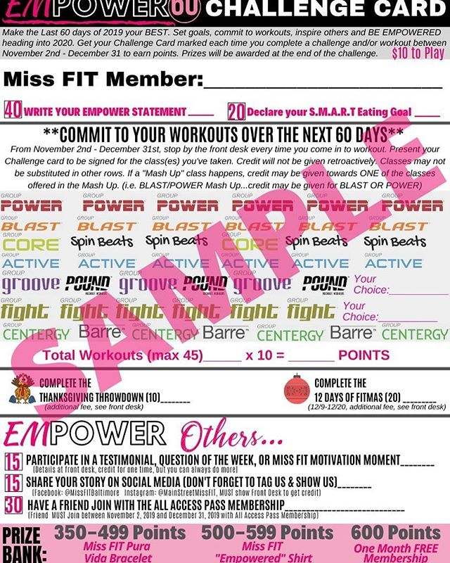 Who's up for a #challenge 💗💗💗 #empower60 kicks off this Saturday and we're challenging you to make the most of the rest of this year! Why wait for 2020 when you can be living your BEST life now?! #mainstreetmissfit #missfitstring #ellicottcity #howardcounty #weempowerwomen #thesweatlife #leadership #motivation #goals #accountability #community #tribe