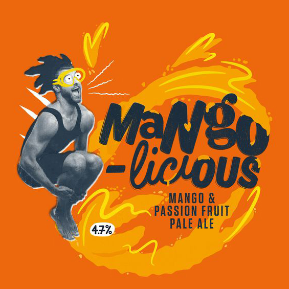 Mangolicious - Mango & Passionfruit Pale  4.6% ABV  A frivolous, funky and fruity beer, brewed with a blend of the juiciest American Hops and a huge dollop of Mango puree (with a splash of passion fruit for good measure). The perfect beer to enjoy in the early summer sun.  Hops: Mango & Passion Fruit Puree, Citra, Cascade