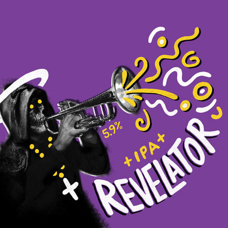 Revelator - IPA  5.9% ABV  A full on IPA. A bit like head-butting a fruit bowl. Massive flavours of peach, melon and citrus. Operatic.  Hops: Mosaic, Chinook