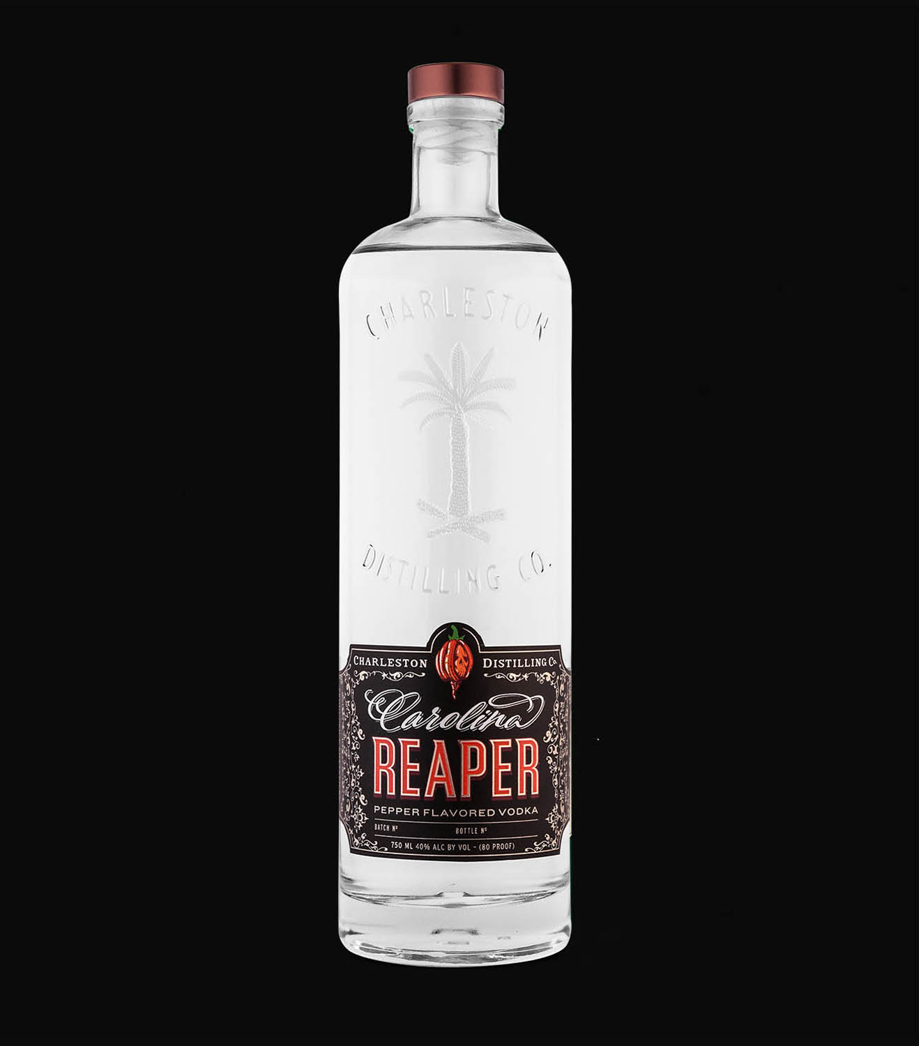 Carolina Reaper Pepper Vodka - 100% corn vodka macerated with dried Carolina Reaper Peppers, the current spiciest pepper in the world. Coming from upstate South Carolina, this pepper is a hybrid of the Red Habanero and Ghost Pepper. The rich sweetness from the corn is quickly cut with a sharp, slightly lingering spice. Brace Yourself.80 Proof