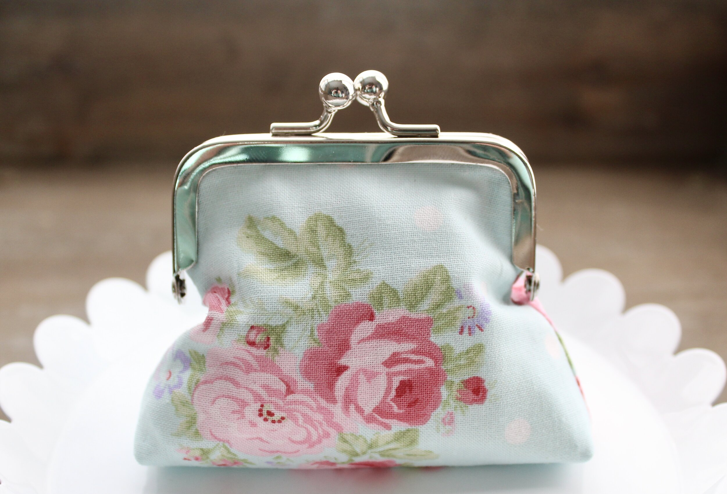 Floral Rosary Purse Pinks